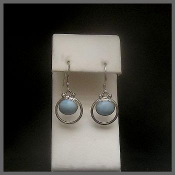 Oval 'Cabin in a Hoop' Larimar Earrings